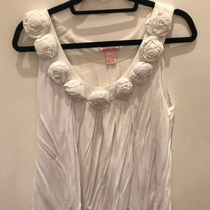 White Cotton Flowy Top with Flowers